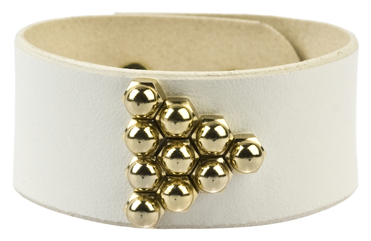 Una-Burke-Stud-Arrow-Cuffs-vegetable-tanned-leather-solid-brass-fittings-coated-in-gold-White-image-for-website